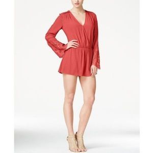 GUESS Angel Lace Womens Romper in Coral Size S